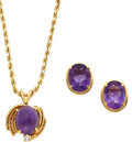 Estate Jewelry:Lots, Amethyst, Diamond, Gold Jewelry. ... (Total: 2 Items)