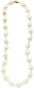 Estate Jewelry:Pearls, South Sea Cultured Pearls, Gold Necklace. ...