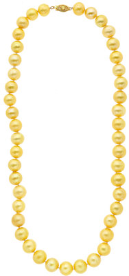 Golden Cultured Pearl, Gold Necklace