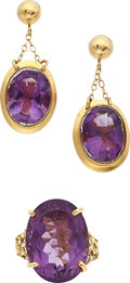 Estate Jewelry:Lots, Amethyst, Gold Jewelry. ... (Total: 2 Items)