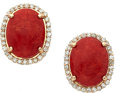 Estate Jewelry:Earrings, Coral, Diamond, Pink Gold Earrings. ...