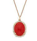 Estate Jewelry:Necklaces, Coral, Diamond, Pink Gold Pendant-Necklace. ...