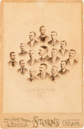 """Baseball Cards:Singles (Pre-1930), Extremely Rare 1890 Players League """"Chicago White Stocking"""" B. B. C. Cabinet Photo. ..."""