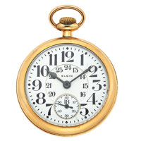 Elgin 21 Jewels Father Time 24-Hour Railroad Approved Pocket Watch