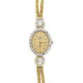 Timepieces:Wristwatch, Lady's Omega 14k Gold & Diamond Wristwatch. ...