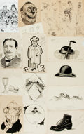 Books:Original Art, [Original Art] Collection of Fourteen Pen and Ink Studies. Drawings were likely done for an art class, as there is pencil an...