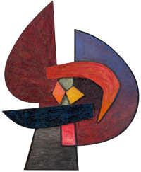 SOREL ETROG (Canadian, 1933-2014) The Hero, 1959 Oil on shaped panel 25 x 20-1/2 inches (63.5 x 5