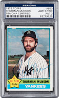 Autographs:Sports Cards, Signed 1976 Topps Thurman Munson #650 PSA/DNA Authentic. ...