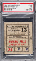Football Collectibles:Tickets, 1936 NFL Championship Game Packers Vs. Redskins Ticket Stub PSA VG 3 (MK). ...