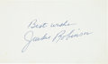 Baseball Collectibles:Others, 1960's Jackie Robinson Signed Index Card & Handwritten NoteRegarding Base Stealing. ...