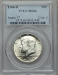 Kennedy Half Dollars: , 1968-D 50C MS66 PCGS. PCGS Population (360/27). NGC Census:(295/9). Mintage: 246,951,936. Numismedia Wsl. Price for proble...
