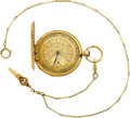 Timepieces:Pocket (pre 1900) , Breguet 18k Gold Fancy Dial Key Wind With Gold Chain, Key &Box, circa 1850. ...