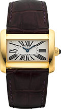 Timepieces:Wristwatch, Cartier Divan Ref. 2601 18k Yellow Gold. ...
