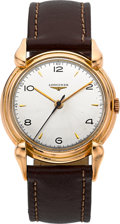 Timepieces:Wristwatch, Longines Ref. 5754 Rare Pink Gold Vintage Watch With Unique Lugs. ...