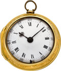 Timepieces:Pocket (pre 1900) , George Clarke London Gold Verge Fusee Repousse Pair Case, circa1770. ...