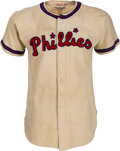 Baseball Collectibles:Uniforms, 1946-48 Emil Verban Game Worn Philadelphia Phillies Jersey, MEARSA10....