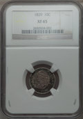 Bust Dimes: , 1829 10C Small 10C XF45 NGC. NGC Census: (12/243). PCGS Population(29/187). Mintage: 770,000. Numismedia Wsl. Price for pr...