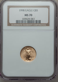 1998 $5 Tenth-Ounce Gold Eagle MS70 NGC. NGC Census: (1832). PCGS Population (135). Numismedia Wsl. Price for problem fr...