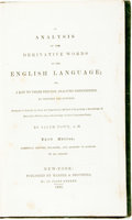 Books:Reference & Bibliography, Salem Town. An Analysis of the Derivative Words in the EnglishLanguage; or, a Key to Their Precise Analytic Definitions...