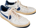 Basketball Collectibles:Others, 1981 Sam Jones Game Worn, Signed Post Career Sneakers....