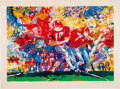 """Football Collectibles:Others, 1973 Leroy Neiman Signed """"Alabama Handoff"""" Serigraph...."""
