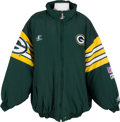 Football Collectibles:Uniforms, 1996-97 Brett Favre Game Worn Green Bay Packers Sideline Jacket Worn in NFC Championship Game with Team Letter....