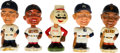 Baseball Collectibles:Others, 1961-63 Mickey Mantle, Willie Mays (2), Roger Maris & Mr. RedBobble Head Nodders Lot of 5....