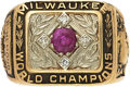 Baseball Collectibles:Others, 1957 Milwaukee Braves World Championship Ring Presented toAssistant Director of Scouting....