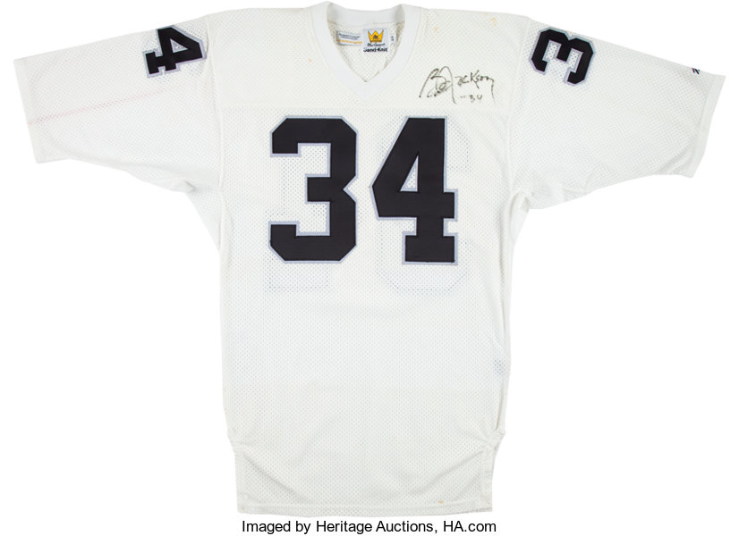 ecaa3909f03 ... Football Collectibles:Uniforms, 1990 Bo Jackson Game Issued, Signed Los  Angeles Raiders Jersey ...
