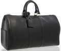 "Luxury Accessories:Travel/Trunks, Louis Vuitton Black Epi Leather Keepall 45 Weekender Bag . VeryGood Condition . 18"" Width x 11"" Height x 9"" Depth,4""..."