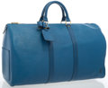 "Luxury Accessories:Travel/Trunks, Louis Vuitton Blue Epi Leather Keepall 50 Weekender Bag . Good Condition . 22"" Width x 12"" Height x 10"" Depth, 4"" Dept..."