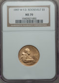 Modern Issues: , 1997-W G$5 Franklin D. Roosevelt Gold Five Dollar MS70 NGC. NGC Census: (455). PCGS Population (228). Mintage: 11,894. Numi...