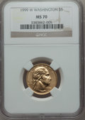 Modern Issues: , 1999-W G$5 Washington Gold Five Dollar MS70 NGC. NGC Census: (786). PCGS Population (164). Numismedia Wsl. Price for probl...