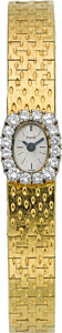 Timepieces:Wristwatch, Piaget Lady's Gold & Diamond Back Wind Wristwatch. ...
