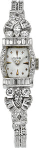 Timepieces:Wristwatch, Hamilton Lady's Platinum & Diamond Wristwatch. ...