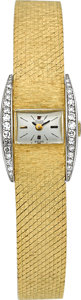 Timepieces:Wristwatch, Girard Perregaux Lady's 18k Gold & Diamond Watch. ...