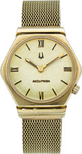 Timepieces:Wristwatch, Bulova 14k Gold Accutron With 14k Band. ...