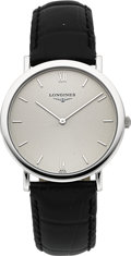 Timepieces:Wristwatch, Longines 18k White Gold Ultra-thin Wristwatch. ...