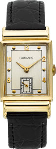 Timepieces:Wristwatch, Hamilton Vintage 14k Gold Wristwatch. ...