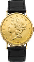 Timepieces:Wristwatch, Piaget $20 Gold Coin Wristwatch. ...