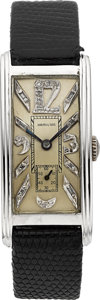 Timepieces:Wristwatch, Hamilton Platinum Diamond Dial Wristwatch, circa 1940's. ...