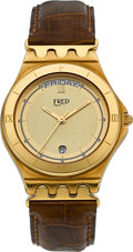 Timepieces:Wristwatch, Fred Very Fine 18k Yellow Gold Day/Date Wristwatch. ...