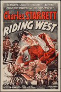 "Movie Posters:Western, Riding West (Columbia, 1944). One Sheet (27"" X 41""). Western.. ..."