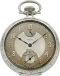 Timepieces:Pocket (post 1900), Waltham Premier Maximus 18k White Gold Pocket Watch, circa 1909....