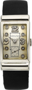 Timepieces:Wristwatch, Hamilton White Gold Diamond Dial Rectangular. ...