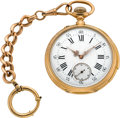 Timepieces:Pocket (pre 1900) , Swiss 18k Gold Minute Repeater, Fob Chain. ...