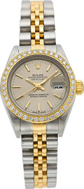 Timepieces:Wristwatch, Rolex Ref. 2060 Lady's Two Tone Oyster Perpetual Datejust With Diamonds. ...