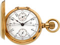 Timepieces:Pocket (pre 1900) , Audemars Piguet & Co. Very Fine Gold Split Second ChronographWith Register No. 3331, circa 1888. ...