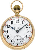 "Timepieces:Pocket (post 1900), Illinois Rare 14k Gold 21 Jewel Bunn Special ""Extra"" Gold Damaskeened Pocket Watch, circa 1907. ..."