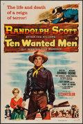 "Movie Posters:Action, Ten Wanted Men (Columbia, 1955). One Sheet (27"" X 41""). Action....."